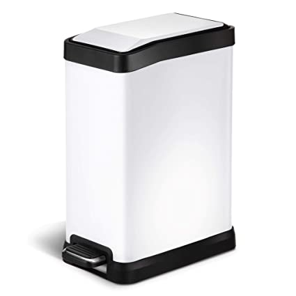 HomeZone 8 Liter/ 2.1 Gallon Stainless Steel Rectangular Step Trash Can,  White Finish