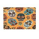 NYMB Mexican Festival Bath Rugs, Sugar Skull for Day of The Dead, Non-Slip Doormat Floor Entryways Indoor Front Door Mat, Kids Bath Mat, 15.7x23.6in, Bathroom Accessories