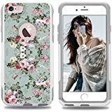 iphone 6 case vintage - Unnito iPhone 6 Case – Hybrid Commuter Case | Slim Cover with Hard Shell Design and Soft Inner Layer Compatible with iPhone 6S White Case - Vintage Sea Green Floral