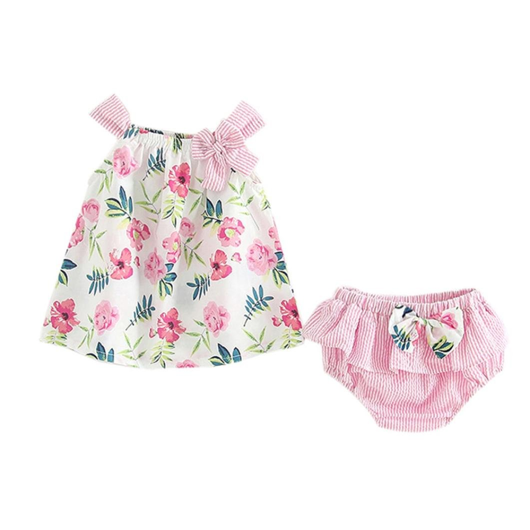 Wesracia Summer Fashion 2Pcs Infant Baby Girls Floral Print Tops Vest+Striped Shorts Outfits Clothes Set (70, Pink)
