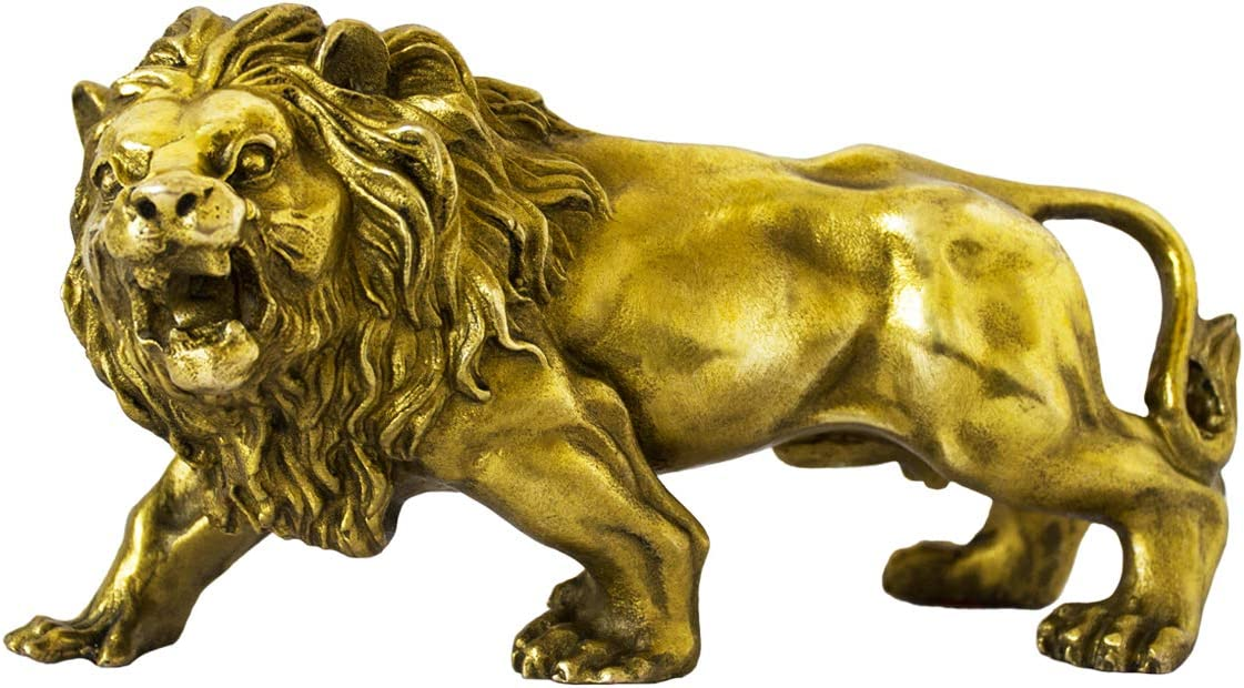 Addune African Wild Lion Figurine Gold Lion Statue for Home Decor Desk Animals Ornament Handmade Brass Art Collectible (Gold)