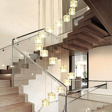 Lámparas de araña Lámpara de escalera de cristal simple Lámpara colgante de vidrio LED Comedor minimalista moderno con luz de techo giratoria creativa A+ (tamaño : 50 * 200 cm): Amazon.es: Hogar