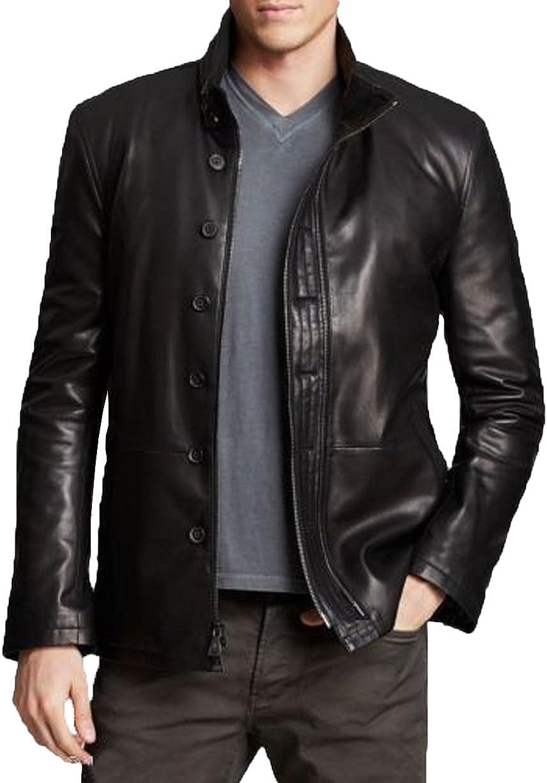Men Slim Fit Biker Motorcycle Lambskin Leather Jacket Coat Outwear Jackets T1214