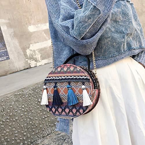 Capacité Messager À De Bandoulière D'épaule Bleu Sac chaud Winjin Sauvage Petit Femme Main Pompon Grande Rond Mini Mode BxvwfqUa
