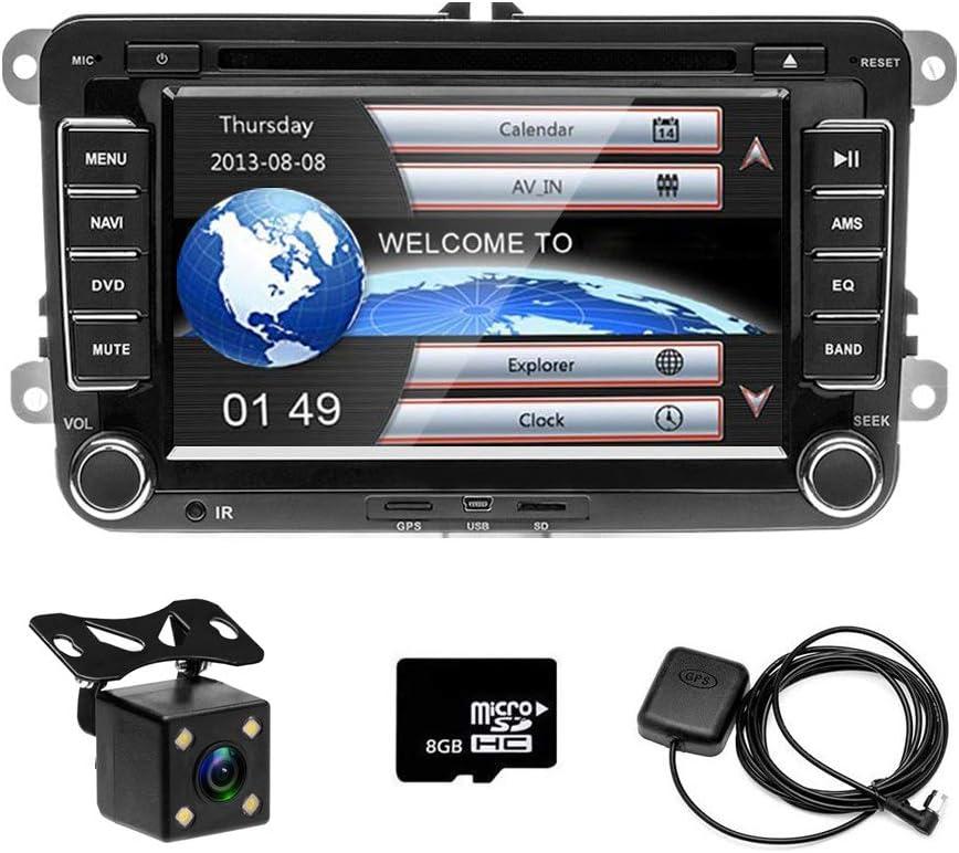 CAMECHO Radio de Coche GPS Naviagion para VW, Reproductor de CD Pantalla táctil de 7 Pulgadas con Ranura para Tarjeta USB / SD Bluetooth Receptor FM Estéreo + Cámara Trasera