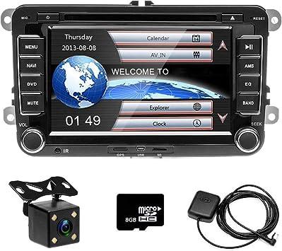 Camecho Radio para automóvil GPS Naviagion para VW, reproductor de CD Pantalla táctil de 7 pulgadas con ranura para tarjeta USB / SD Bluetooth Receptor FM Estéreo + Cámara trasera: Amazon.es: Electrónica
