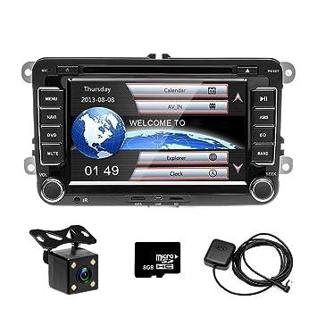 Reproductor de CD y DVD para coche de Camecho, pantalla táctil de 7 pulgadas; de tamaño: doble DIN, con navegador (GPS) y radio estéreo for VW