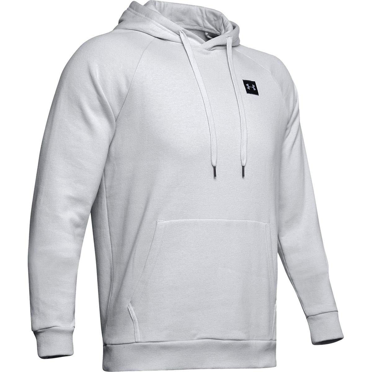 Under Armour Men's Rival Fleece Hoodie, Halo Gray (014)/Black, Small by Under Armour