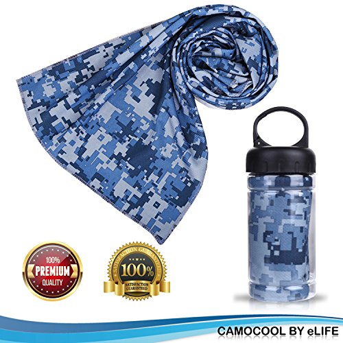 Microfiber Cooling Fitness Towel W/ Sports Bottle| Sports Towels For Instant Sweat Relief| Perfect For The Gym, Yoga, Pilates, Golf, Swimming, Work| Hypoallergenic For Sensitive Skin| 3 Color Options