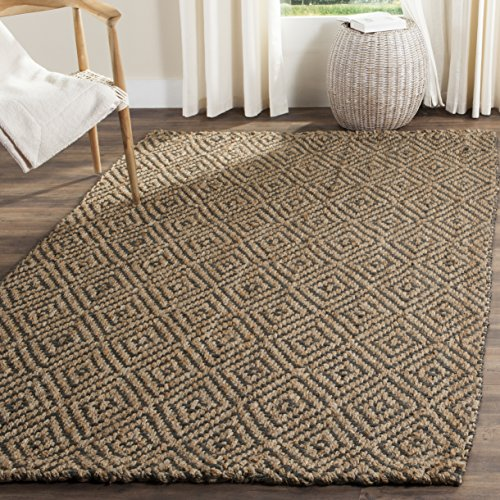 Safavieh Natural Fiber Collection NF181D Hand Woven Natural and Grey Jute Square Area Rug (7' Square)