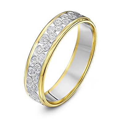 Theia Two Colours 9 ct White and Yellow Gold Heavy Flat Diamond Cut