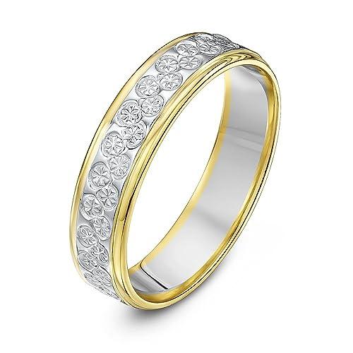 Theia Anillo de Bodas de Dos Colores Oro Amarillo y Blanco de 9k Pesado Corte Diamante Plano de 5mm - Tamaño 11: Amazon.es: Joyería