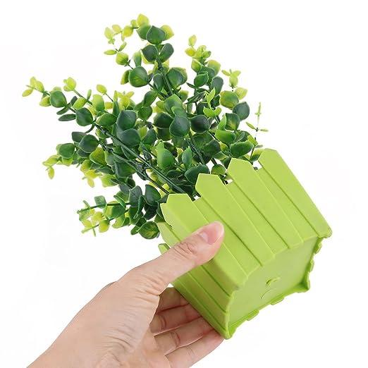 Amazon.com: eDealMax Planta de hierba Artificial Silla de jardín Maceta de plástico Familia decoración de escritorio: Home & Kitchen