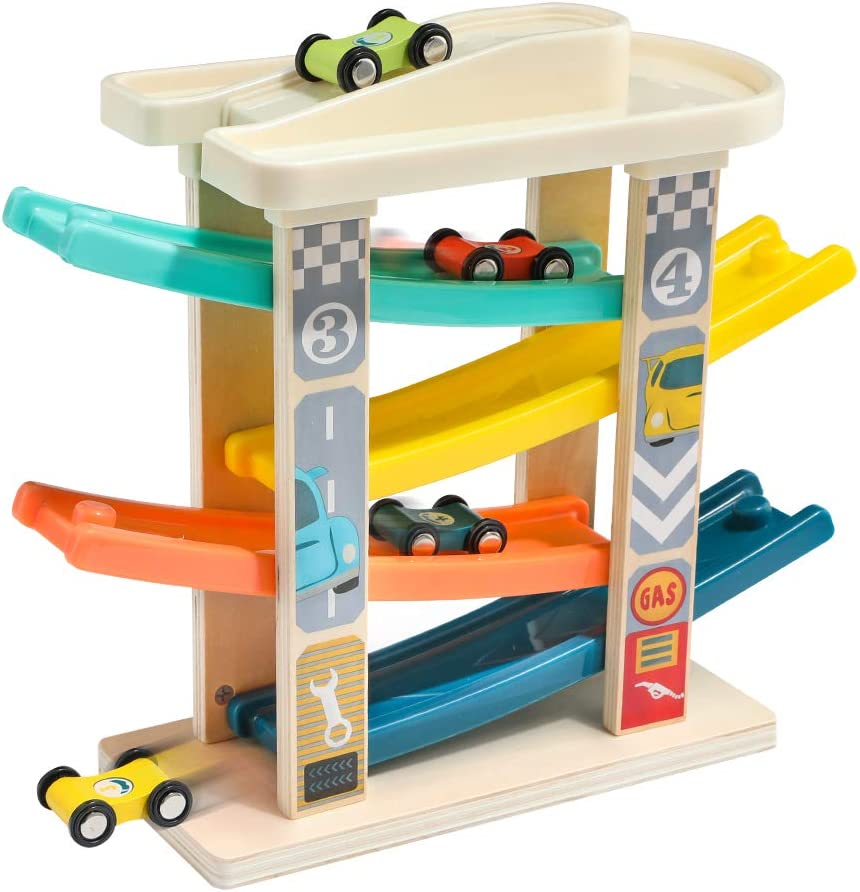 TOP BRIGHT Toddler Toys Race Track for 1-2 Years Old Boy Gifts - Baby Car Toy Car Ramp Vehicle Playsets with 4 Wooden Cars & Garage