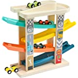 TOP BRIGHT Toddler Toys Race Track for 1-2 Years Old Boy Gifts - Baby Car Toy Car Ramp Vehicle Playsets with 4 Wooden…