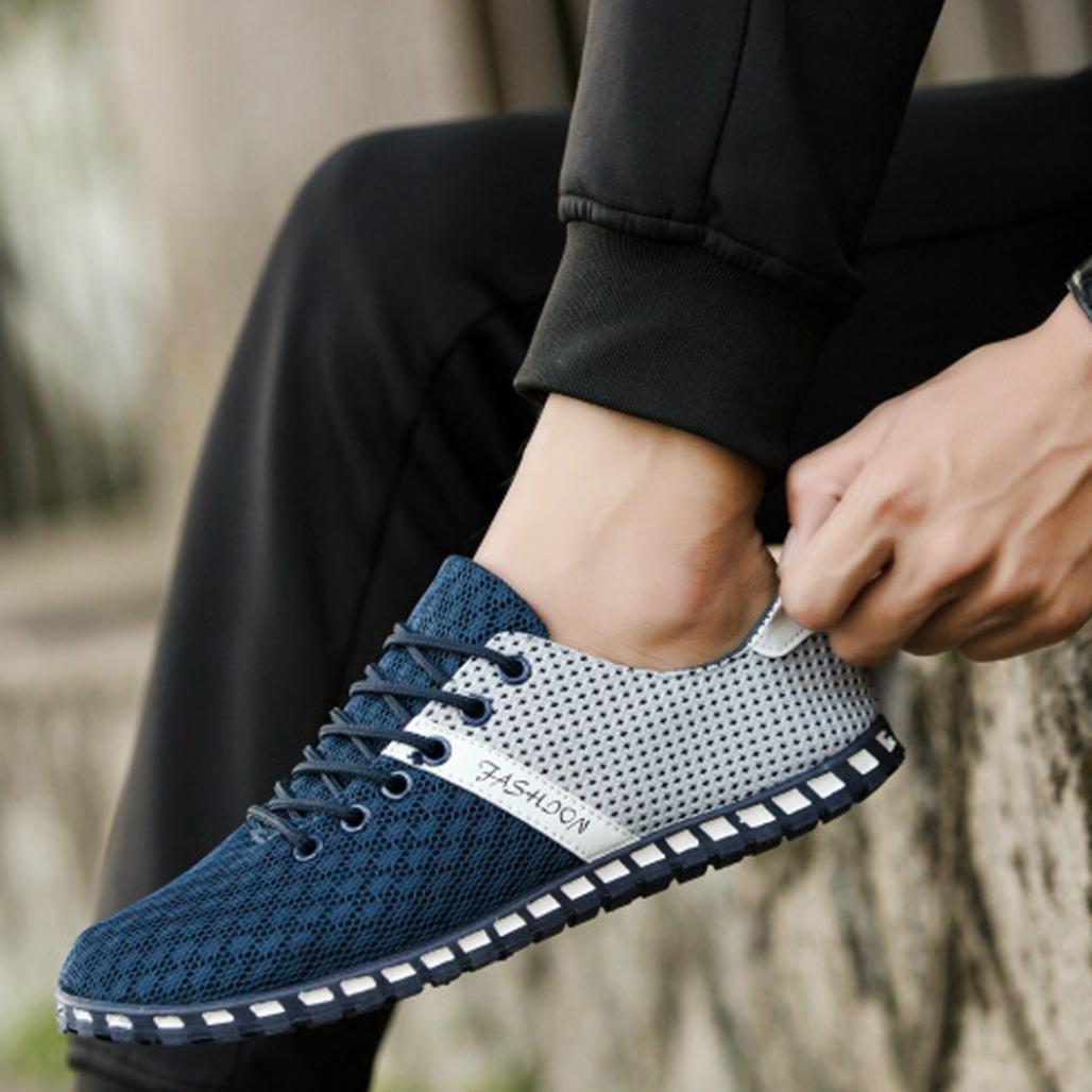 Hemlock Soft Sneakers, Men Boy Mesh Comfortable Breathable Casual Shoes Flat Shoes Gym Shoes (US:9, Blue)