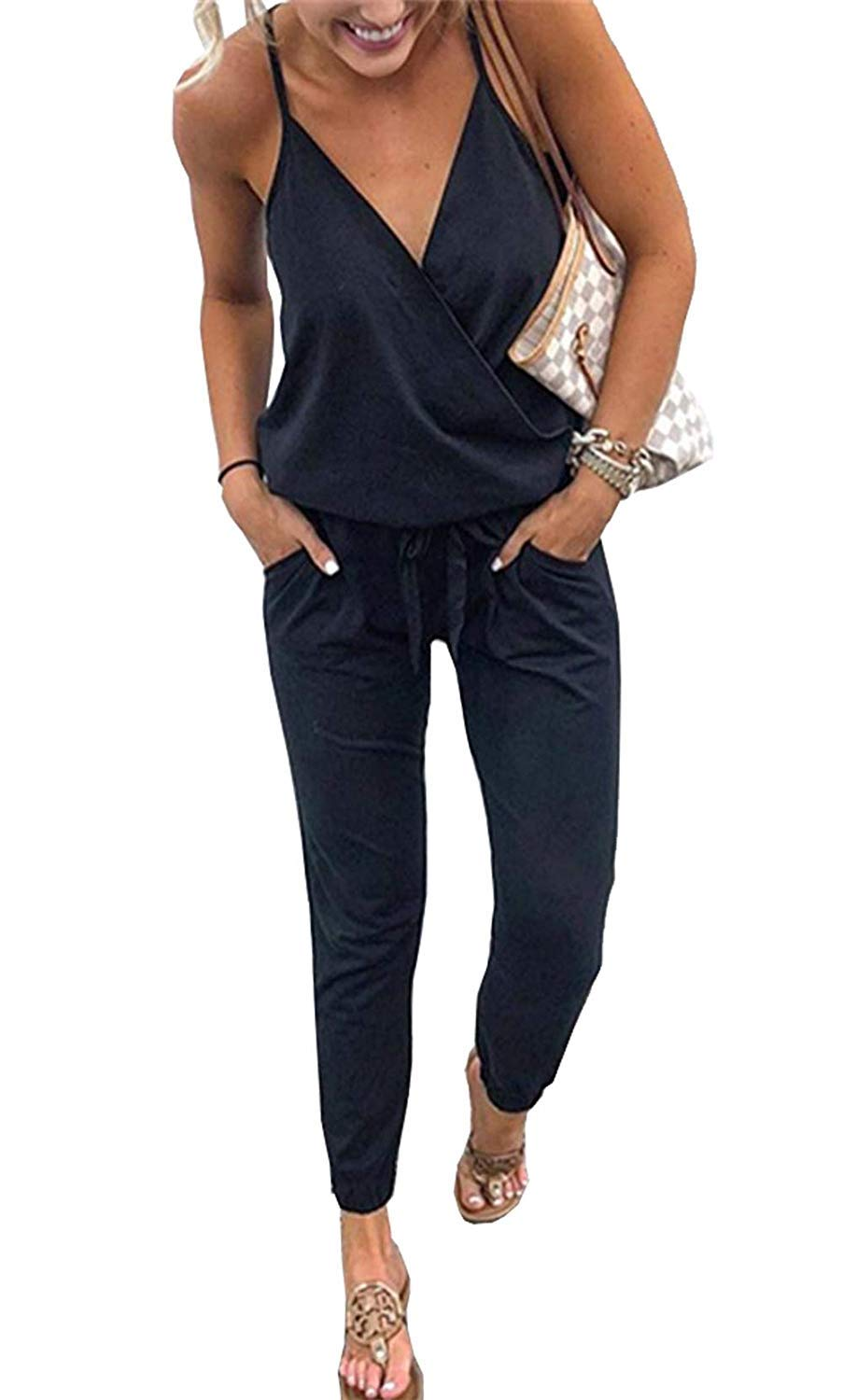 QEESMEI Women's Jumpsuits Rompers V Neck Spaghetti Strap Elastic Waisted Long Pants Jumpsuits Black by QEESMEI