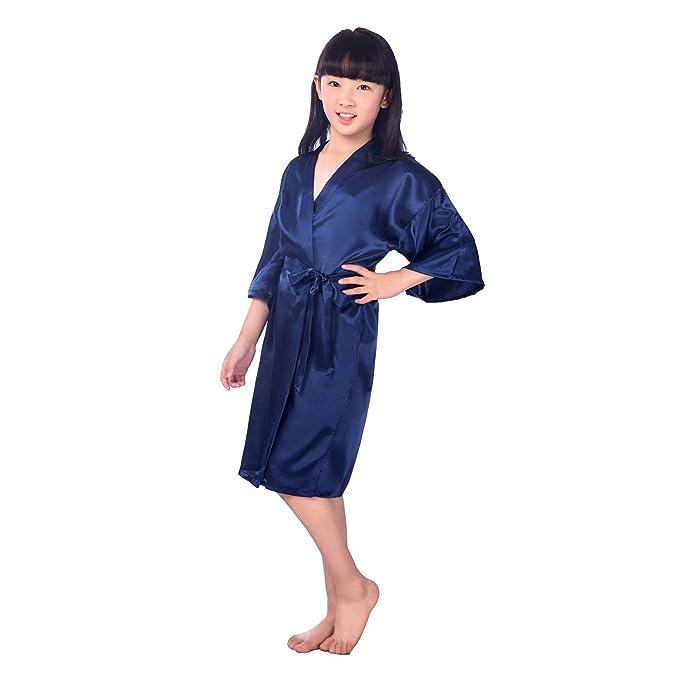 Kimono para Niñas Manga Larga Albornoz Batas de Kimono Color Sólido Vestido de Noche Bordado Cardigan Kimono Poliéster Camisón Niña de Flores: Amazon.es: ...