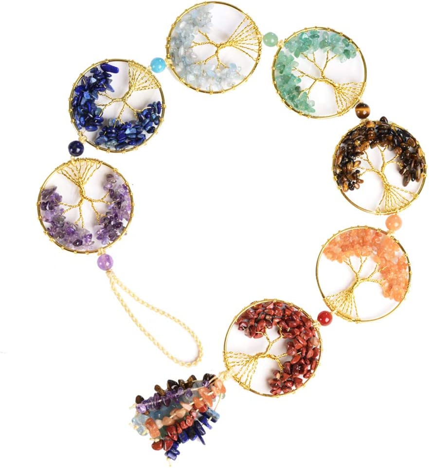 7 Chakra Stone Healing Crystal Tree of Life Wall Hanging Home Interior Decoration Feng Shui Good Luck Home Window Decoration Yoga Meditation Protection - Tumbled Palm Stones