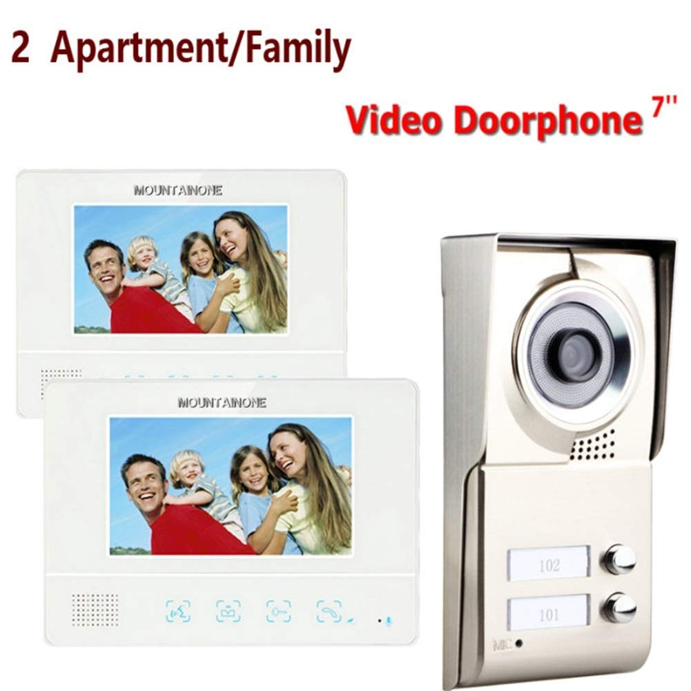 Video Doorbell,7  Apartment Family Video Door Phone Intercom System 1 Doorbell Camera 2 Button 2 Monitor Waterproof