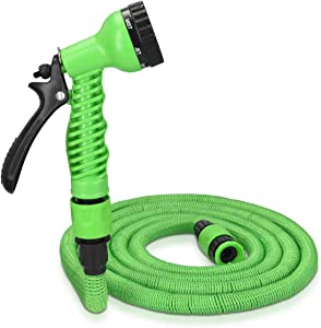Navaris 75ft Expandable Garden Hose - Flexible Water Pipe with Double Latex Core, 7 Pattern Spray Gun, Braided Outer Layer - Large No Kink Hose