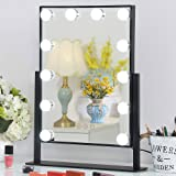 Vanity Mirror with Dimmable LED Bulbs, Hollywood Style Makeup Mirror with Lights for Touch Control Design, 3 Different Lighting Settings (black)