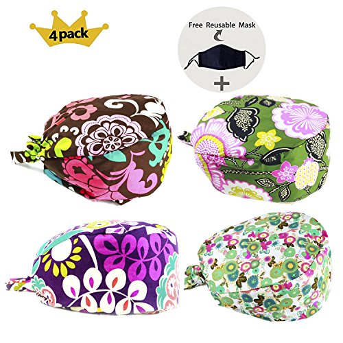 JoyRing 4 Pack Unisex Adjustable Surgical Hat Scrub Cap with Sweatband for Ponytail and Free Reusable Cotton Mask, One Size Fit (Scrub Hat)