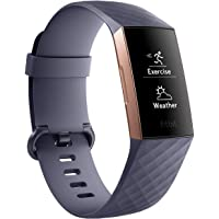 FITBIT Charge 3 Fitness Activity Tracker, Rose Gold/Blue Grey