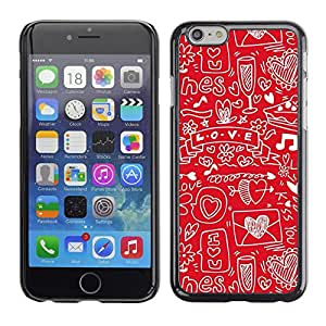 PC/Aluminum Funda Carcasa protectora para Apple Iphone 6 Sketch Heart Note Music Drawing / JUSTGO PHONE PROTECTOR
