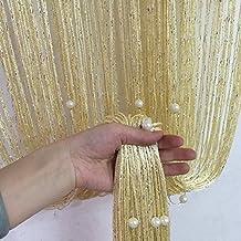 Decorative String Line Tassel Curtain With Beads Door Window Panel Room Divider