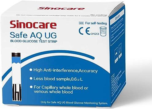 50 tiras reactivas de glucosa en sangre para Safe AQ UG Medidor de glucosa en sangre y ácido úrico bi-funcional: Amazon.es: Salud y cuidado personal