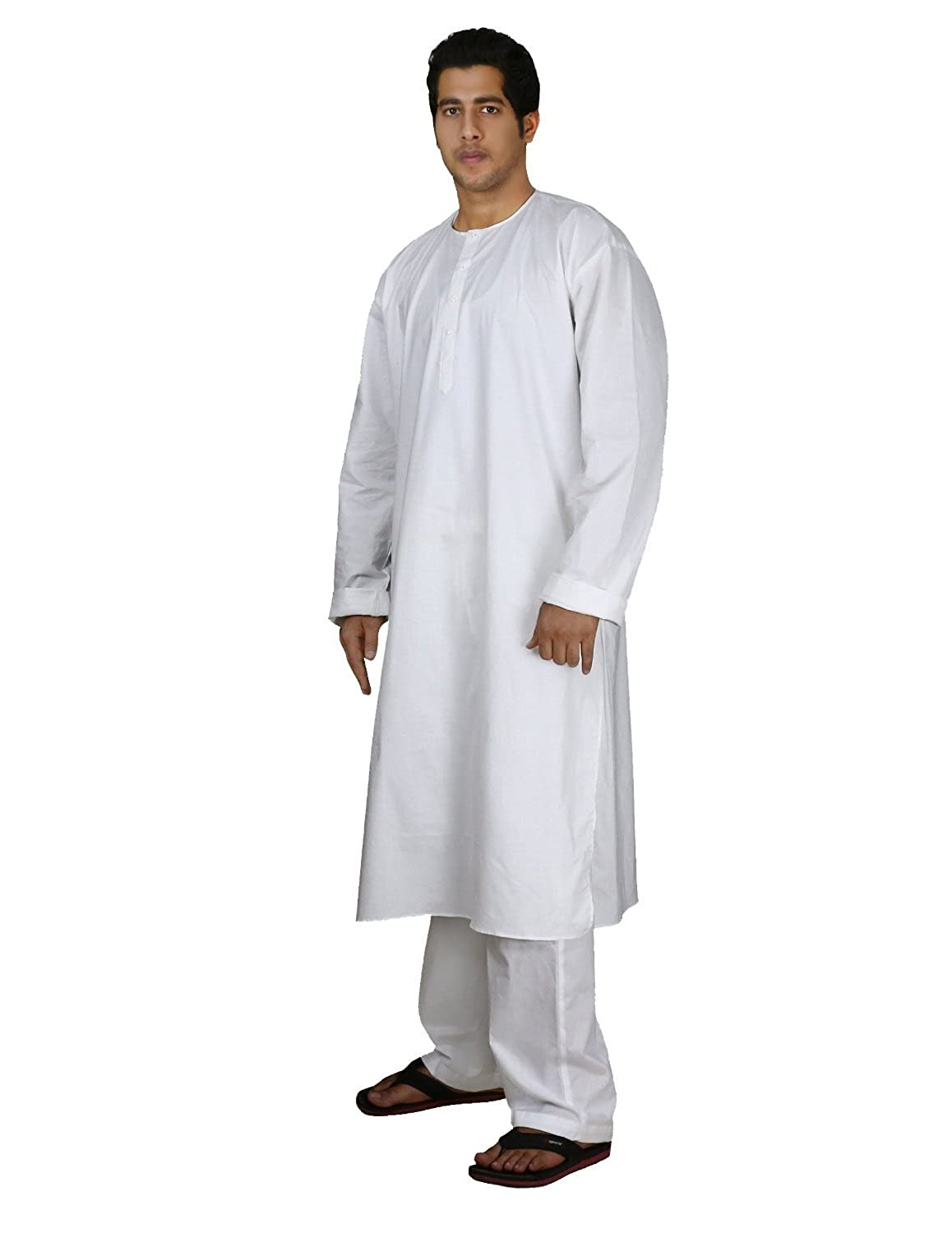 Amazon.com: Handmade White Cotton Men's Kurta Pajamas Set ...