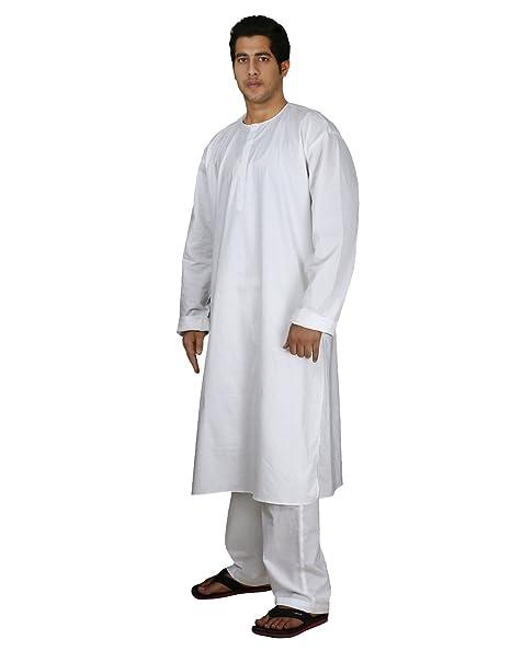 Amazon.com: Handmade White Cotton Mens Kurta Pajamas Set - Traditional Indian Costume - Perfect for Casual Summer Dress: Clothing