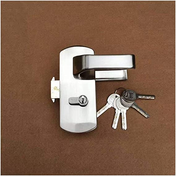 Stainless Iron Single Glass Door Lock Latch Home Office Security Lock Accessory