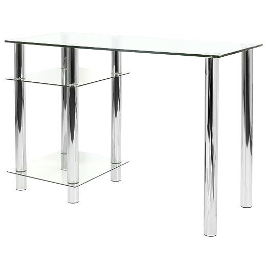 Mesa para ordenador de vidrio negro Hartleys con estantes: Amazon ...