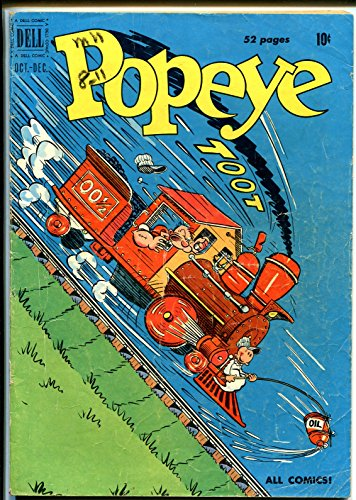 Popeye #14 1950-Dell-train cover-Wimpy-Sweet Pea-Olive (Sweet Pea Olive Oyl)