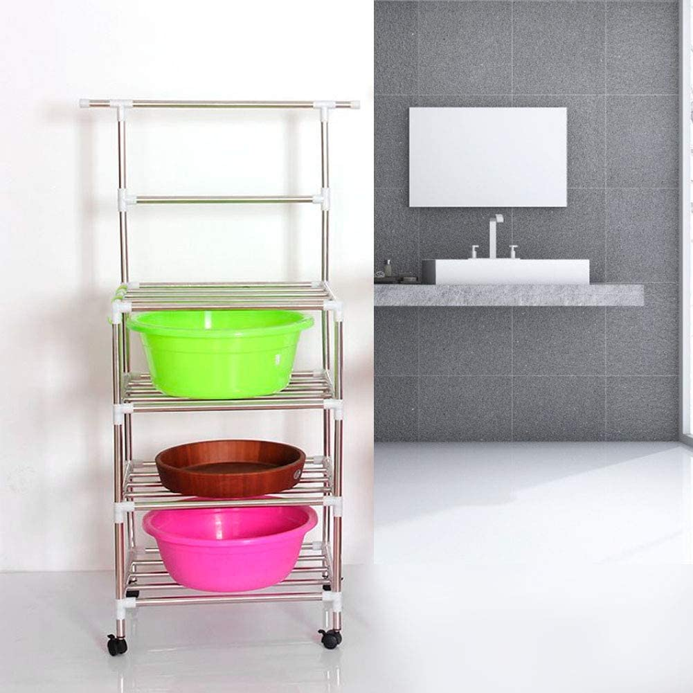 AYNEFY 4-Tier Storage Rack with Wheels,Stainless Steel DIY Assembled Tier Towel Storage Rack Shelf Organizer Washbasin Stand with Wheels for Kitchen Bathroom Office Warehouse and Workshop etc