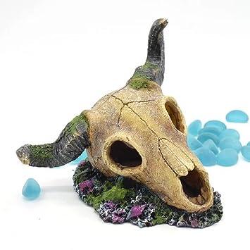 JUZIPI Decoración para Acuario con Acuario, Diseño de Cabeza de Ox, Decoración para peceras y Peces de Betta: Amazon.es: Productos para mascotas