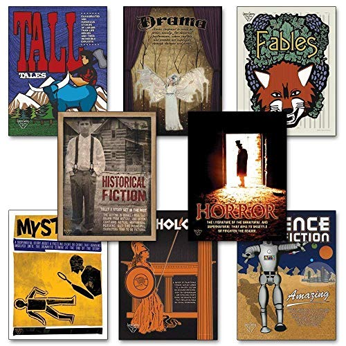 Literary Genres Posters. Discount Classroom Bundle Includes Tall Tales, Fables, Drama, Historic Fiction, Horror and more.