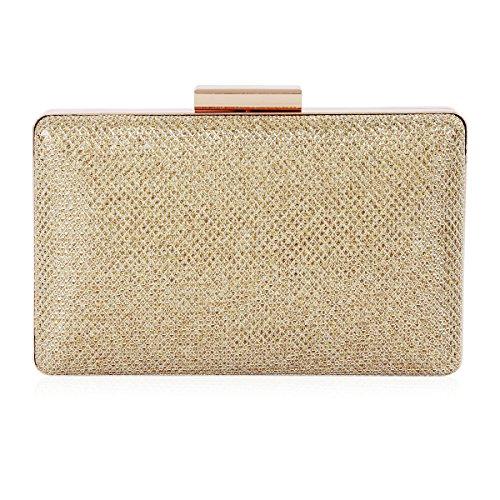 Damara Womens Sparkling Metal Lock Clutch Evening Bag,Gold