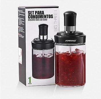 Tarro de miel, frascos de mermelada, recipiente especias, dispensador ketchup, recipiente sal,recipiente azucar, 250 ml: Amazon.es: Hogar
