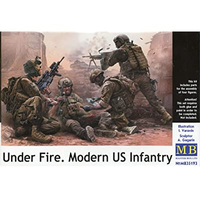 PLASTIC MODEL KIT UNDER FIRE . MODERN US INFANTRY 4 FIGURE 1/35 MASTER BOX 35193: Toys & Games [5Bkhe1102456]