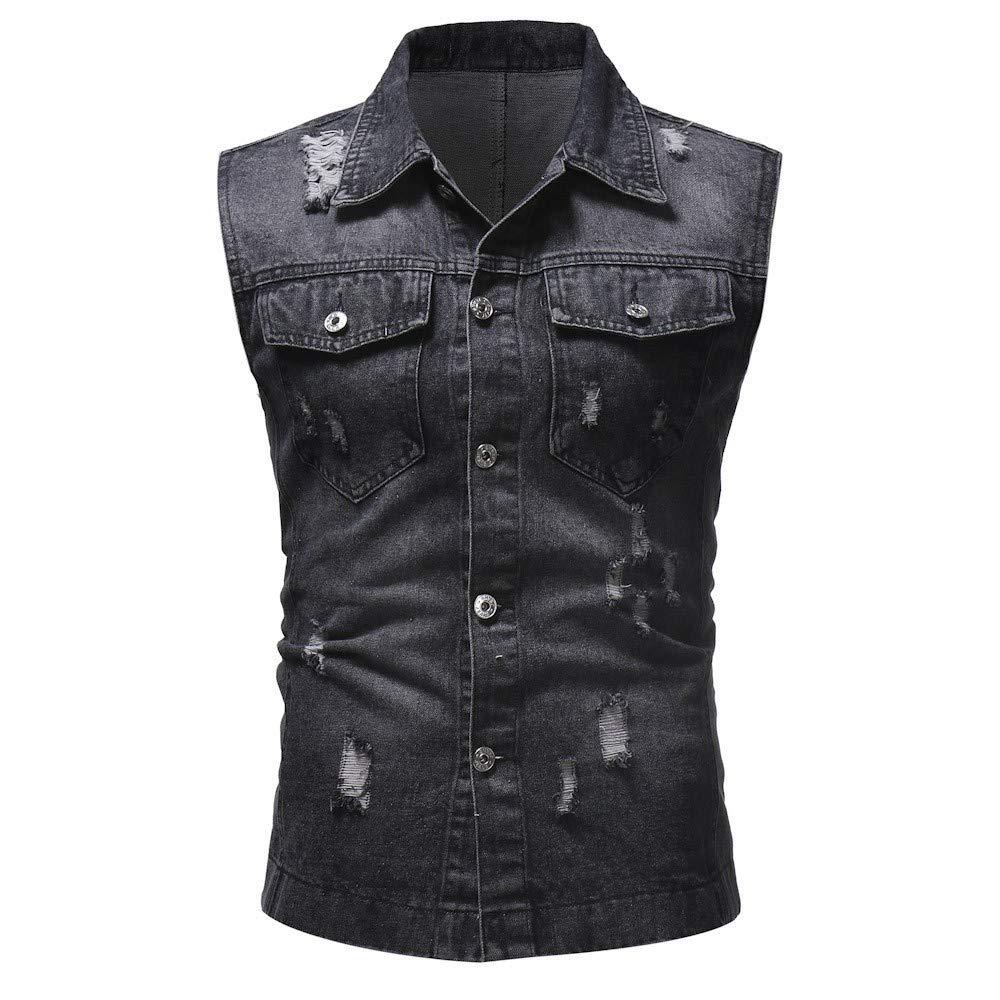AmyDong Men's Autumn Winter Destroyed Vintage Denim Jacket Waistcoat Blouse Vest Top