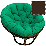 42 Inch Bali Rattan Papasan Chair With Cushion   Solid Twill Fabric,  Chocolate