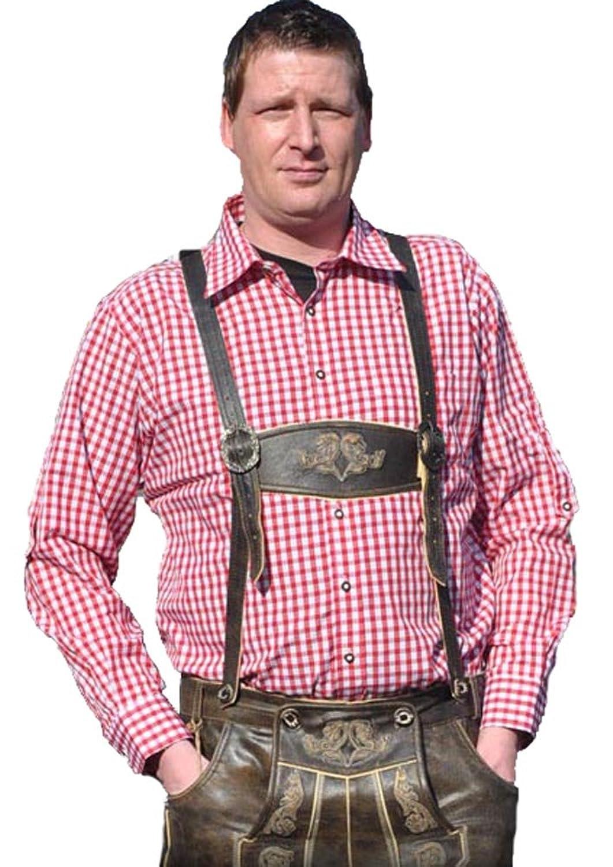 trachtenhemd Rot Weiss kariert Hemd Langarm