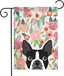 MSGUIDE Boston Terrier Cute Flower Garden Flag Flower House Yard Decoration 12x18 Inch for Outdoor Balcony