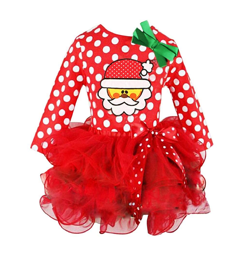 Taylorean Newborn Infant Baby Girls Christmas Dot Printed Long Sleeve Princess Dress Outfit 0-6 Years Old Toddler Kids Children's Xmas Ball Gown Party Bow Tutu Skirt Clothing Costume
