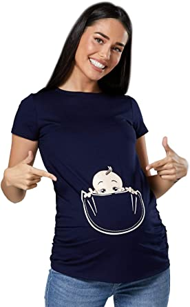Camiseta Premamá Estampado bebé asomándose para Mujer