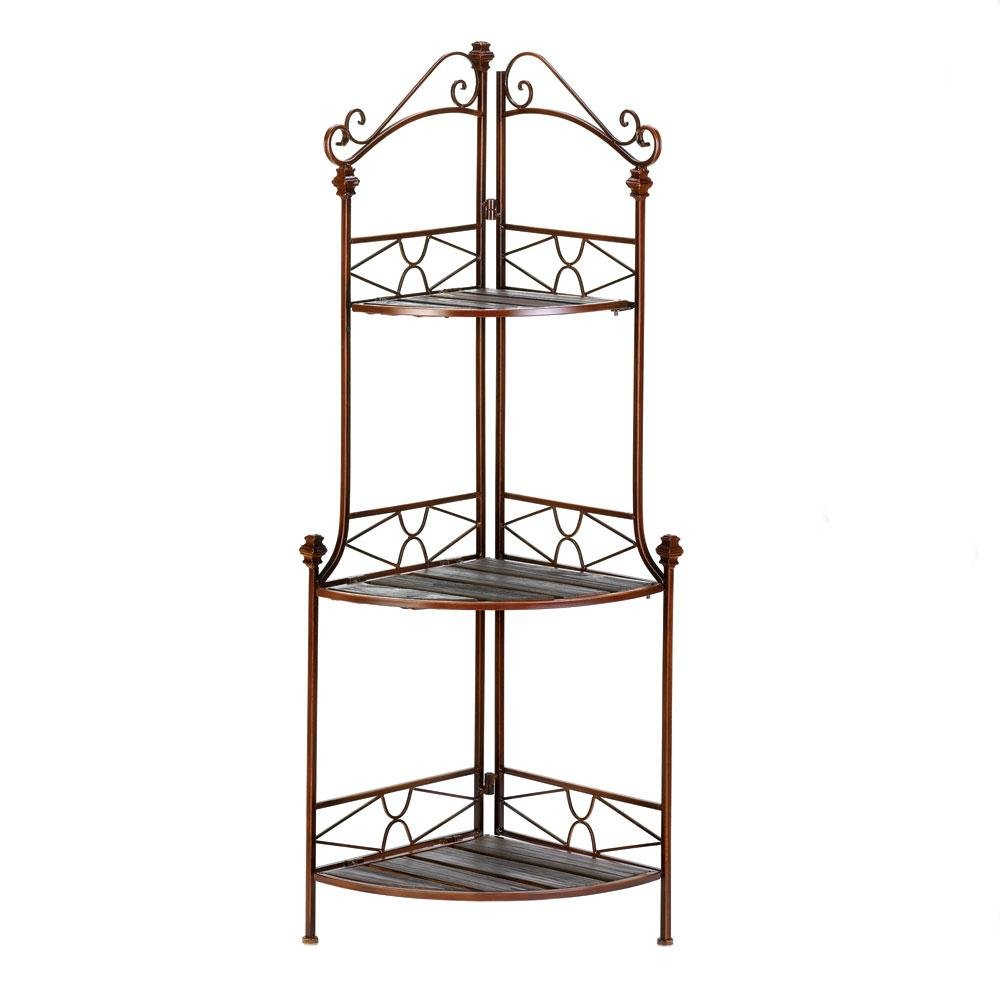 BESTChoiceForYou Rustic Corner Bakers Rack Shelf Storage Wood and Metal Kitchen Baker Home Display Decor Stand