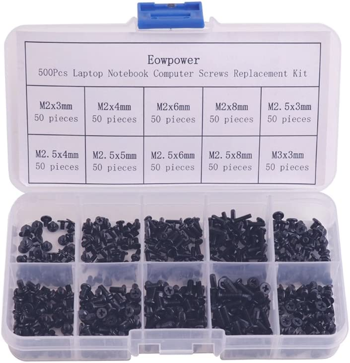 Eowpower 500Pcs Laptop Notebook Computer Screws Replacement Kit for IBM HP Dell Sony Acer Asus Lenovo Toshiba Gateway Samsung
